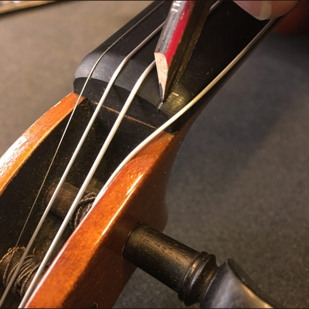 Adding Graphite to Violin Nut